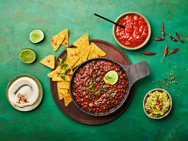 Taco Bowl with Spicy Beans, Salsa, Avocado and Sour Cream