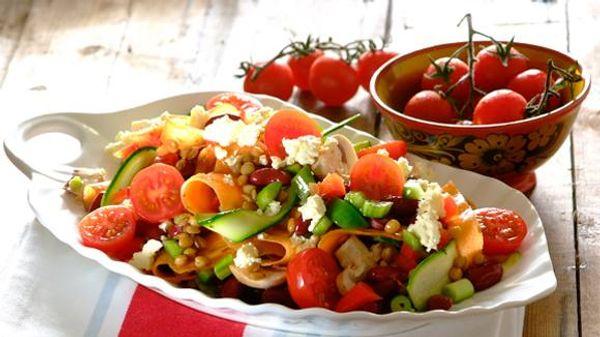Marinated Mushroom Lentil and Feta Salad