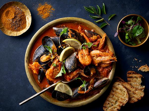 Chakalaka Mussels and Prawns Hot Pot