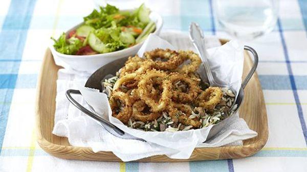 Crumbed Calamari Rings with Lentil Rice