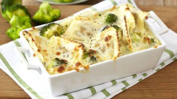 Creamy Ravioli and Broccoli Bake