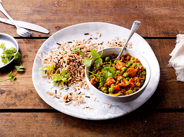 Lentil and Pea Curry with Wild Rice