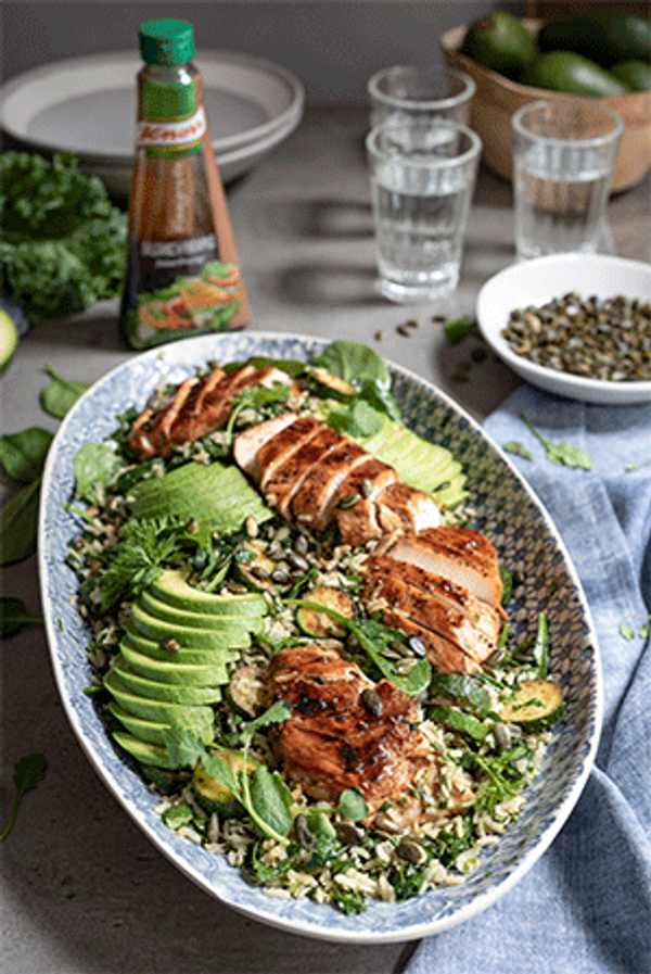 Wild Rice Chicken Salad with Baby Marrows & Avocado