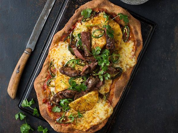 Grilled Mexican Beef Pizza with Pineapple and Jalapeño