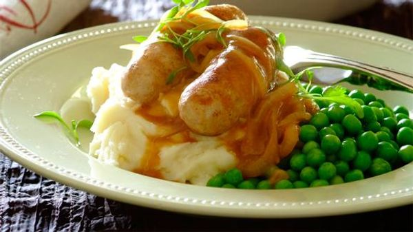 Bangers and mash with brown onion gravy