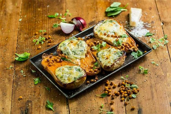Roasted Whole Butternut Halves with Three Cheese Pasta Sauce