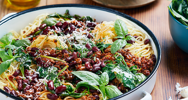 Spaghetti Bolognaise with Red Kidney Beans and Baby Spinach