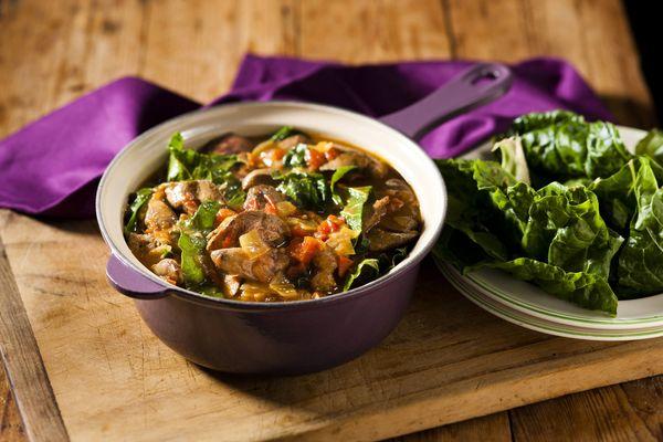 Chicken Liver and Spinach Stew