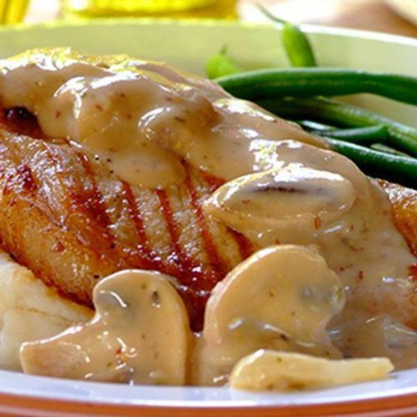 Pork Chops with a Creamy Wine and Mushroom Sauce