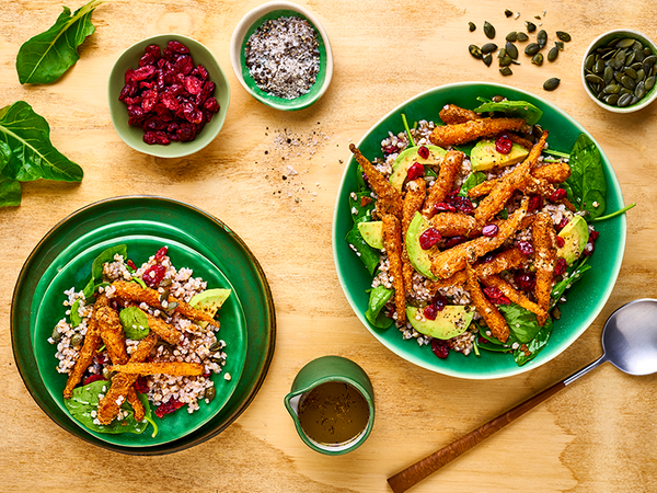 Warm Baby Carrot and Buckwheat Salad with Avocado and Spinach