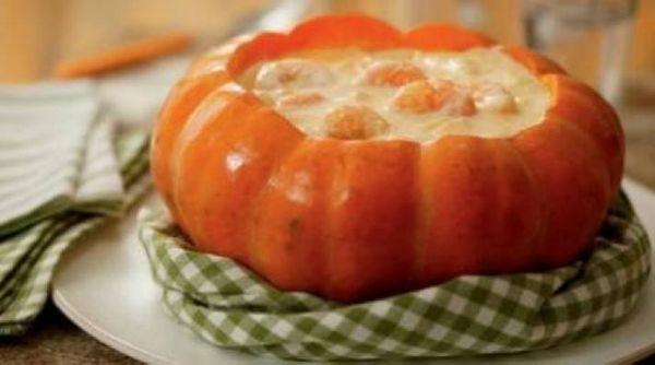Calabaza rellena con camarones