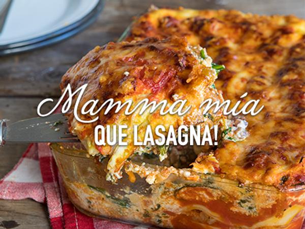 Lasagna de carne, espinaca y ricota