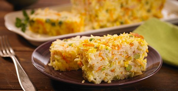 Pastel de arroz y espinaca
