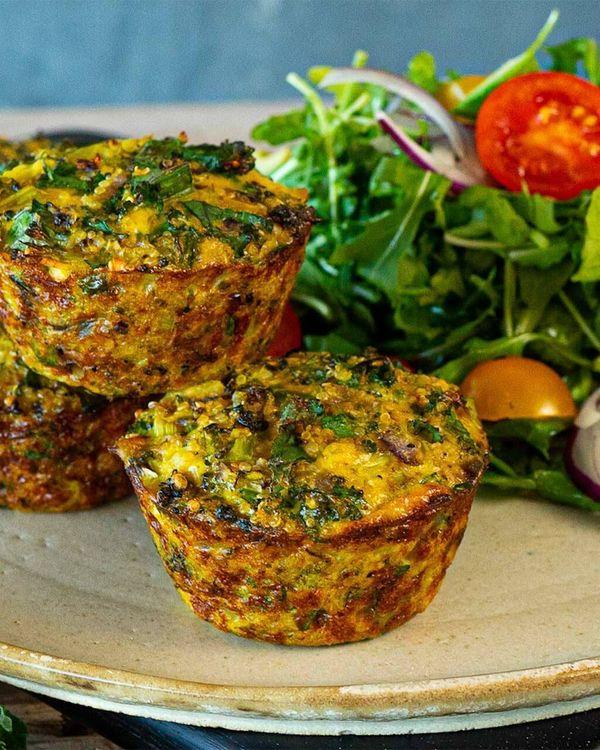 Muffins frittata de quinoa y brócoli