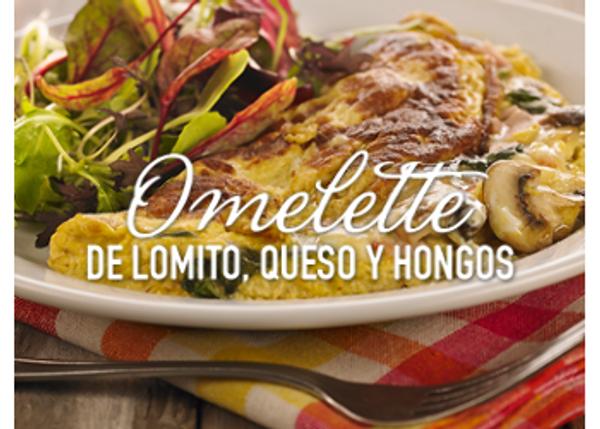 Omelette de lomito, queso y hongos
