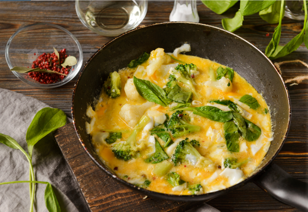 Huevos revueltos con brócoli