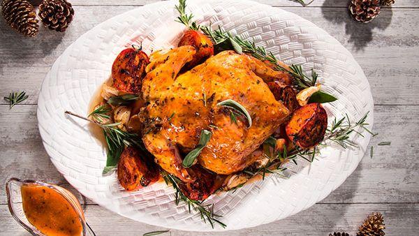 Pollo entero navideño