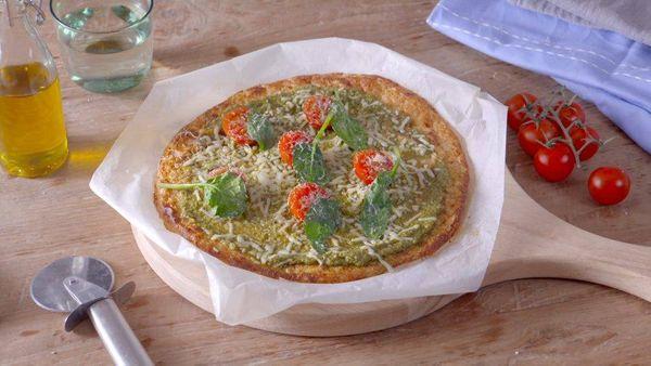 Pizza de Coliflor y Pesto