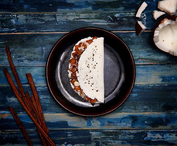 Tapioca Multigrãos de Abóbora com Coco e Castanhas