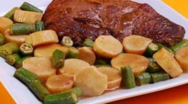 Carne de Panela com Quiabo e Batata-Doce