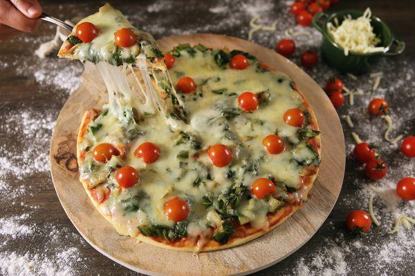 Pizza de liquidificador de escarola